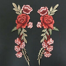 1Pair Rose Flower Applique Badge Embroidered Sew on Floral Collar Patch Dress