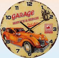 """Glas-Wanduhr Wall Clock Ø ca. 30 cm Uhr mit ansprechendem Motiv: """"Garage"""""""