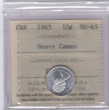 **1965** Canadian 10 Cent Silver - ICCS MS-65 Heavy Cameo *NO SALES TAX*