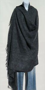 Blanket/Throw | Yak Wool Blend |Nepal |Handmade |Over-Sized | Charcoal & Gray