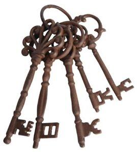Vintage Antique Old Victorian Look Large 5 Pcs Cast Iron Skeleton Keys Set Decor