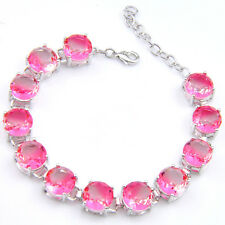 Sterling Silver Plated Rose Pink Bi Colored Tourmaline Silver Charming Bracelets