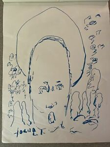 Purvis Young Signed Ink Classic Blue Oval Head Original Art Unframed