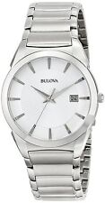 BULOVA Men's 96B015 Classic St.Steel White Dial WR.30M Calendar Watch New In Box