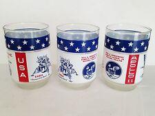 LOT OF 3 Vintage NASA Apollo 11 Glass Cup Moon Landing 1969 Libbey Commemorative