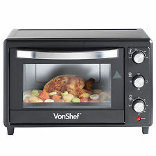 VonShef Mini Oven Black Table Top Grill Convection 30 Litre Wire Rack