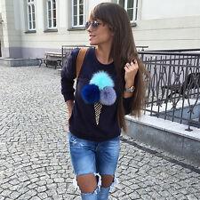 Xmas Women 3D ice cream Sweater Pullover Hoodie Sweatshirt Jumper Long Sleeve GW