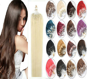 100% Indian Remy Human Hair Extensions Micro Ring Beads Loop Tip Hair 100S 50gr