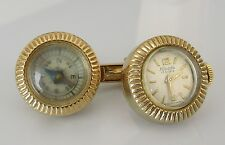 Vintage Nivada 9ct yellow gold round watch & compass toggle cufflinks