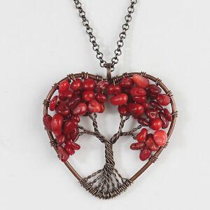 Natural Amethyst Peridot Rose Quartz Tree of Life Chakra Heart Pendant Necklace