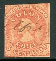 Chile 1853 First Issues 5¢ Columbus  VFU F918