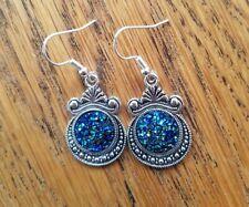 Silvertone Earrings (Pierced OR Clip On) with Blue/Green Druzy, Tribal, Festival