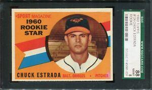 1960 Topps #126 Chuck Estrada Rookie Star SGC 88 NM/MT 8
