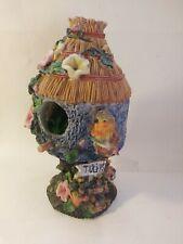 "Birdhouse Ceramic 8 1/2"" decorative with bird and flowers PRETTY"