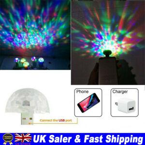 USB Mini LED RGB Disco Stage Light Party Club Party Magic Phone Ball Lamp UK.