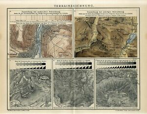 1895 MAP DRAWING ART TERRAIN DRAWING CORNY NOVEANT FRANCE Antique Map