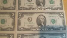 Mint, Uncirculated Two Dollar Bill, Crisp $2 Note, Sequential Order