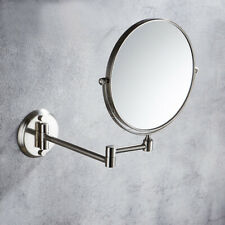 Brushed Nickel Folding Makeup Mirror Wall Mount Vanity Mirror 3x Magnifying