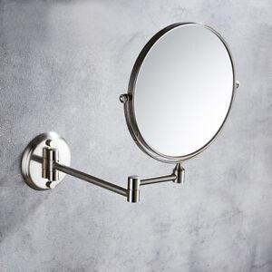 Brushed Nickel Folding Makeup Mirror Wall Mount Vanity Mirror 3x Magnifying