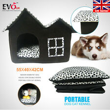 Indoor Warm Pet Dog House Cow Double Roofs Portable Dog Cat Kennel