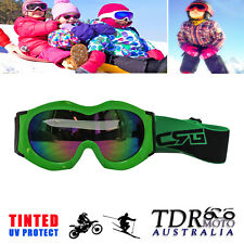 YOUTH TINTED GOGGLES MX MOTORCROSS OFFROAD KIDS GOGGLES EYE SAFETY - GREEN FRAME