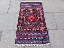 VECCHIO Afgano tradizionale BALUCH Orientali Fatti A Mano Lana Rossa Tappeto Tappeto 144x79cm