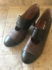 Re-Mix Vintage Style Brown Oxford 2 Button Strap Leather Slip On Shoe Size 8