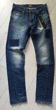 Tigha Herren Slim Fit Jeans Billy the kid 9927 patched mid blue Size 30/34