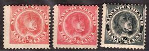 NEWFOUNDLAND CANADA 1887/96 STAMP Sc. # 56, 56a ANBD 58 MH DOG