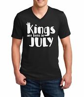 #2 V-neck Kings Are Born In July Shirt Birthday Gift For Men Dad Fathers Day Tee