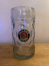 Paulaner Munchen German Austria Beer Stein Dimple Glass 1 Liter Mug