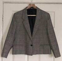 Vintage St. Michael Ladies' Pure New Wool Tweed Blazer Jacket Size 14 Boxy Style