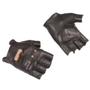 New PU Leather Fingerless Sports Bike Motorcycle Gloves Goth Punk Black Outdoor