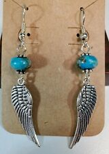 Feather Wing Earrings Silver With Green Blue Turquoise Stone Bead Handmade Hook