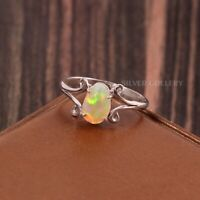 Natural Ethiopian Opal Solid 925 Sterling Silver Handmade Ring Size - 7.5 R-542