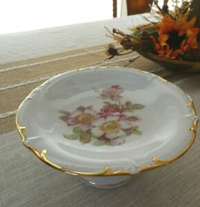 Vintage 1950's Wild Rose Bavarian Pedestal Porcelain Small Cake Stand Plate