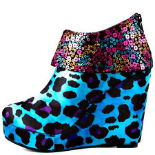 IRON FIST TReaSure BoX WeDge TuRquoiSe Metallic Sequin Top Platform BOOT Shoes 7