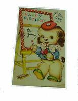 Happy Birthday Dog Chalk Board Bow Tie Pup Vintage Greeting Card Paper Ephemera
