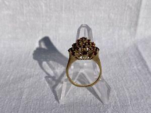 Granat Goldring Antik 9kt Gold 375 Vintage Alt Retro Ring Granatsteine 4 Gramm