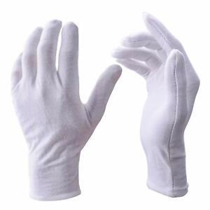 Lady size white cotton work gloves x 2 Pairs