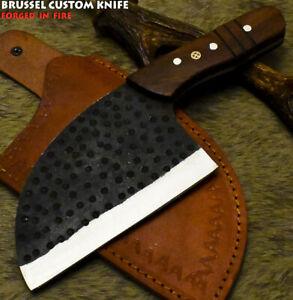 Brussel Handmade D2 Steel Walnut Wood Hammered Hunting Clever Chopper Axe Knife