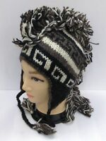 Mohawk Hand Knitted Himalayan Wool Peruvian Ski Beanie Trooper Hat Made in NEPAL