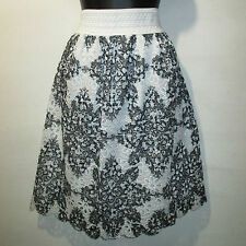 Skirt 1X Plus Black White Beautiful Crochet Lace Lined Stretch Comfort NWT 644X