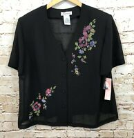 Dressbarn black blouse button up womens 20W vneck floral short slv new gauze R2