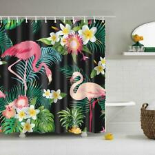 Folk Style Bathroom Polyester Shower Curtain with 12 Rings Set Flamingo 2