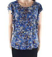 Bobeau 164103 Women's Paisley Ruffle Sleeves Knit Blue Top Size Small