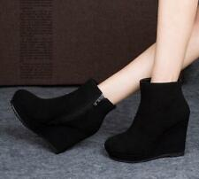 Womens Black Suede High Wedge Platform Round Toe Ankle Riding Boots Shoes F752