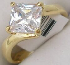 18K GOLD EP 2.0CT DIAMOND SIMULATED PRINCESS RING size 9 or R 1/2