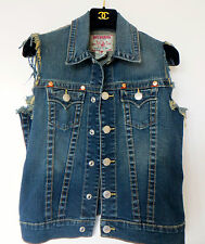 CURRENT SLIM FIT ELLIOT TRUE RELIGION  WAISTCOAT DENIM JACKET