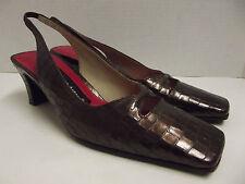 ETIENNE AIGNER Brown Leather Slingbacks Heels Womens SHOES Sz 6 1/2 M